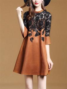 PHICIA欧美时尚立领蕾丝拼接连衣裙